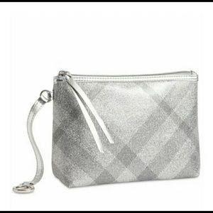 NWOT Burberry Silver Sparkly Makeup Bag
